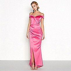 Debut - Bright pink satin bandeau 'Cleo' maxi dress