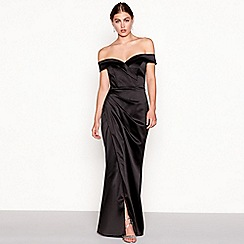 Debut - Black satin 'Cleo' Bardot neck full length maxi dress