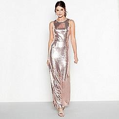 Debut - Light pink sequin 'Clara' round neck maxi dress