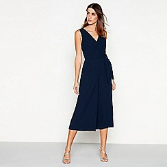 Debut - Navy 'Ramona' wrap plus size jumpsuit