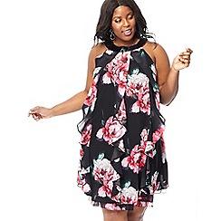 Debut - Black floral ruffle 'Kara' knee length plus size evening dress
