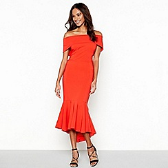 Debut - Red 'Bella' bardot full length bodycon dress
