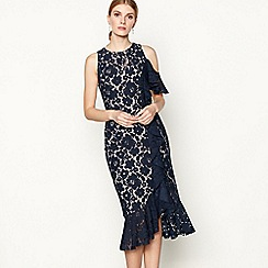 Debut - Navy lace 'Laney' cold shoulder knee length dress