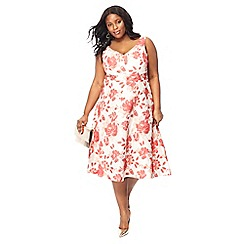Debut - Pink Flora jacquard plus size prom dress