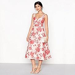 Debut - Pink Flora jacquard prom dress