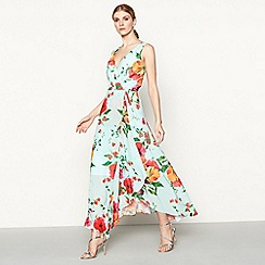 Debut - Aqua floral print chiffon V-neck maxi dress