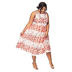 Debut - Peach 'Blossom' embroidered plus size prom dress