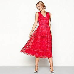 Debut - Red lace 'Laila' v-neck midi length prom dress