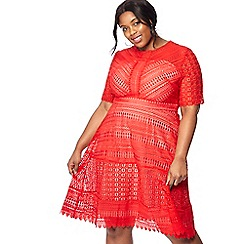 Debut - Red lace 'Lara' knee length plus size prom dress