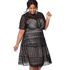 Debut - Black embroidered lace 'Lara' knee length plus size prom dress