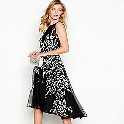 Debut - Black floral embroidered 'Harper' sleeveless high low dress