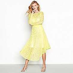 Debut - Yellow lace round neck long sleeve midi dress