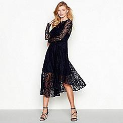Debut - Navy lace 'Lacy' long sleeve midi dress