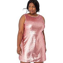b073cceaf6e Debut - Pink sequin  Shanghai  round neck mini plus size shift dress