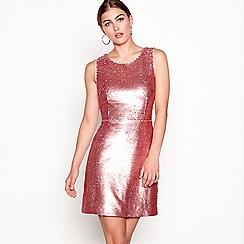Debut - Pink sequin 'Shanghai' round neck mini shift dress
