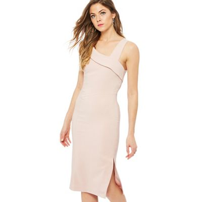 Debut   Rose 'eimear' Asymmetric Neck Knee Length Pencil Dress by Debut