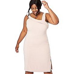 6ee9a6b7d64 Debut - Light pink  Eimear  asymmetric neck plus size pencil dress