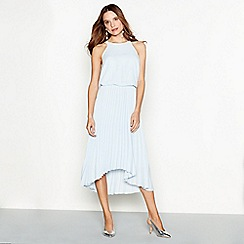 Debut - Pale blue chiffon pleated 'Paris' high low dress