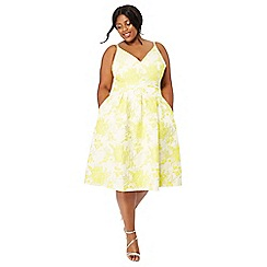 Debut - Yellow floral 'Jakarta' V-neck plus size fit and flare dress