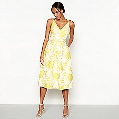 Debut - Yellow floral 'Jakarta' V-neck fit and flare dress