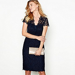 Debut - Dark blue lace 'Ludlow' V-neck short sleeve midi dress