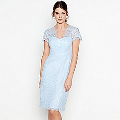 Debut - Pale blue lace 'Ludlow' V-neck short sleeve midi dress