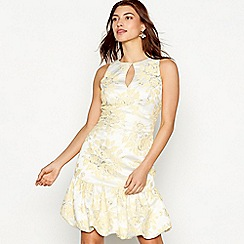 Debut - Yellow floral jacquard 'Florence' sleeveless mini dress