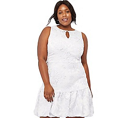 Debut - Lilac floral jacquard 'Florence' sleeveless plus size mini dress
