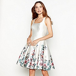 Debut - Ivory floral bird print satin round neck mini prom dress