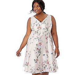 a6f1270dd23 Debut - Pale pink floral print  Jena  V-neck knee length plus size