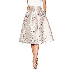 Debut - Pale pink floral print 'Jena' knee length prom skirt