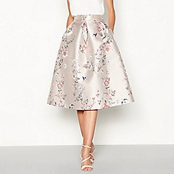 Debut - Pale pink floral print 'Jena' knee length prom skirt