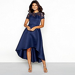 Chi Chi London - Navy floral lace sweetheart neckline short sleeve high-low dress