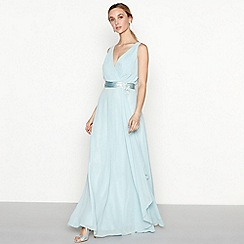 No. 1 Jenny Packham - Light blue embellished chiffon 'Liliana' V-neck full length evening dress