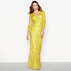 No. 1 Jenny Packham - Yellow sequin 'Luella' V-neck full length evening dress
