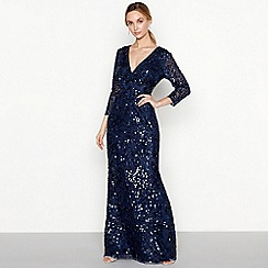 No. 1 Jenny Packham - Navy sequin 'Luella' V-neck long sleeve evening dress
