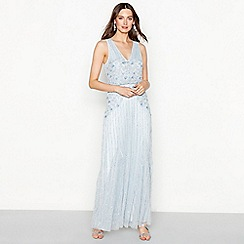 No. 1 Jenny Packham - Light blue floral embellished chiffon 'Francesca' V-neck full length evening dress