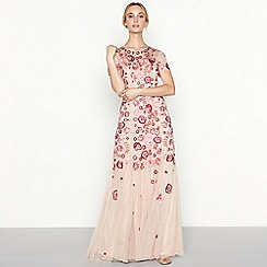 No. 1 Jenny Packham - Rose floral embroidered 'Chelsea' round neck short sleeve full length evening dress