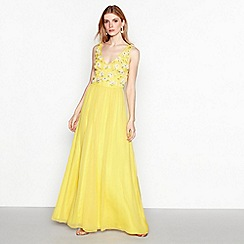 No. 1 Jenny Packham - Yellow beaded 'Yasmin' maxi dress