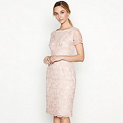 No. 1 Jenny Packham - Dark pink floral lace 'Lizbeth' round neck short sleeve knee length shift dress