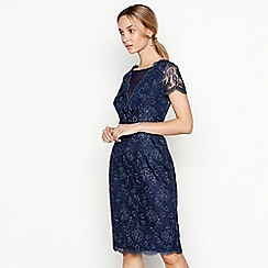 No. 1 Jenny Packham - Navy floral lace 'Lizbeth' round neck short sleeve knee length shift dress