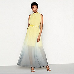 MW by Matthew Williamson - Yellow ombre chiffon 'Orla' high neck full length evening dress