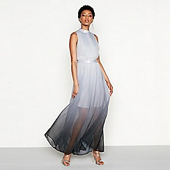 MW by Matthew Williamson - Grey ombre chiffon 'Orla' high neck full length evening dress