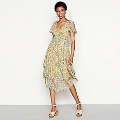 MW by Matthew Williamson - Yellow floral print chiffon 'Rita' V-neck short sleeve high low dress