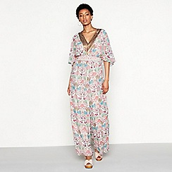 Butterfly by Matthew Williamson - Pink floral print sequin chiffon 'Julinka' V-neck short sleeve jumpsuit