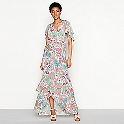 MW by Matthew Williamson - Pink floral print chiffon 'Mimi' V-neck short sleeve maxi wrap dress