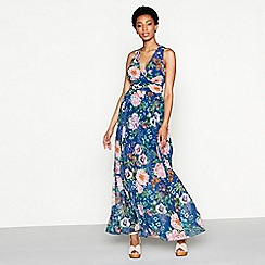 MW by Matthew Williamson - Navy floral print 'Verity' V-neck maxi dress