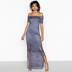 Vila - Blue floral lace satin Bardot neck full length evening dress
