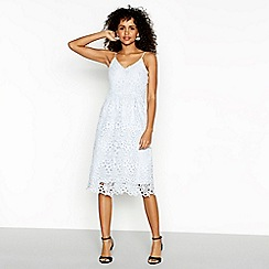 1357696871 Vila - Light blue lace  Vidalton  V-neck midi evening dress