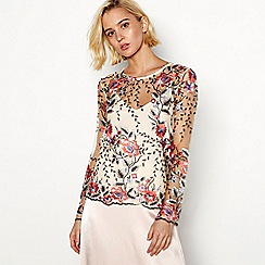 Vila - Multi-coloured floral embroidered 'Virena' long sleeve top